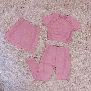 3Pc Pink Vital Seamless Set (Shorts,Leggings,Top)